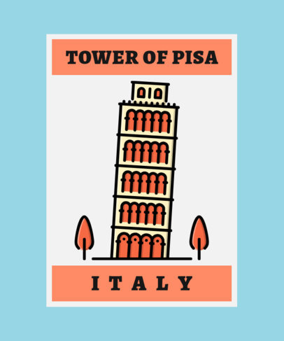 T-Shirt Design Maker with a Minimalist Icon of the Leaning Tower of Pisa