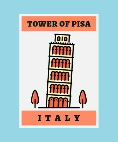T-Shirt Design Maker with a Minimalist Icon of the Leaning Tower of Pisa 362c-el