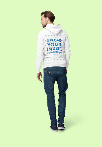 Back View Hoodie Mockup of a Man Posing at a Studio 1794-el