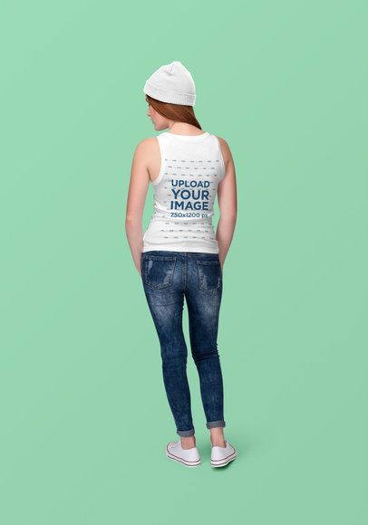 Back-View Mockup of a Woman Wearing a Tank Top at a Studio