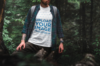 Mockup of a Man Wearing a Tee in a Forest Scenery 1853-el
