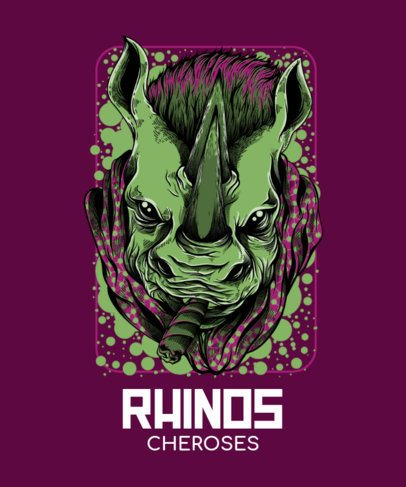 T-Shirt Design Maker Featuring Bizarre Rhino Illustrations with Street-Art Style 44-el