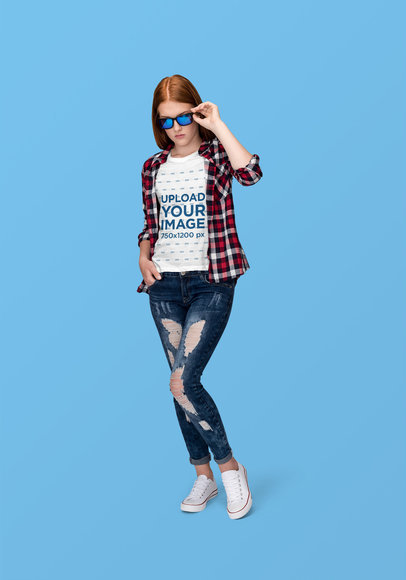 T-Shirt Mockup Featuring a Woman with Sunglasses at a Studio 1882-el