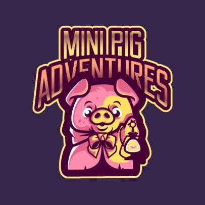Gaming Logo Maker Featuring an Adventurous Mini Pig 2766g