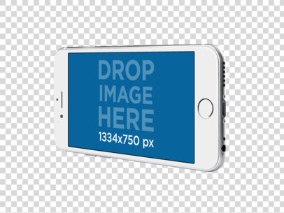 White Angled iPhone 6s Over a Transparent Background Mockup a11500