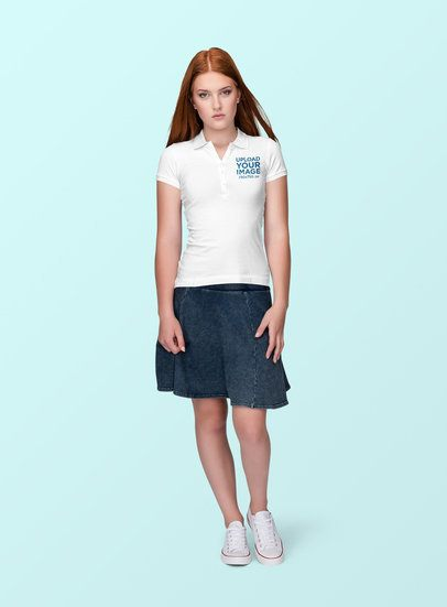 Polo Shirt Mockup Featuring a Serious Woman at a Studio 1888-el1
