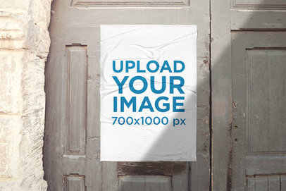 Urban Poster Mockup Featuring an Old Door 1763-el