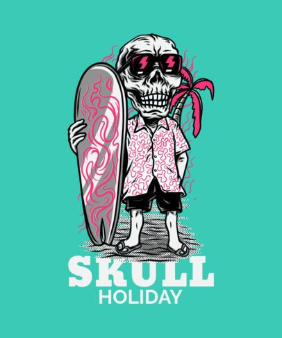 Surfing T-Shirt Design Template with a Skeleton at the Beach 21e-el