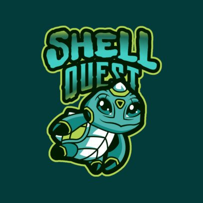 Gaming Logo for a Fantasy Game with a Cute Turtle 2766t
