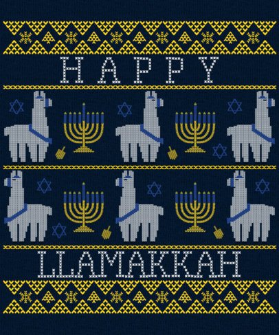 Hannukah T-Shirt Design Maker in an Ugly Christmas Sweater Style 1914j 2056