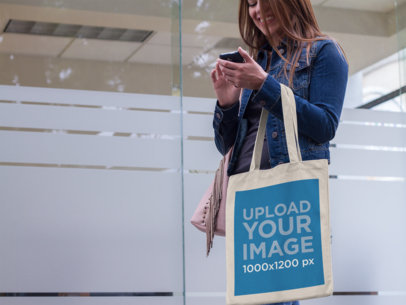 Sublimated Canvas Tote Bag Mockup of a Woman Texting a11495