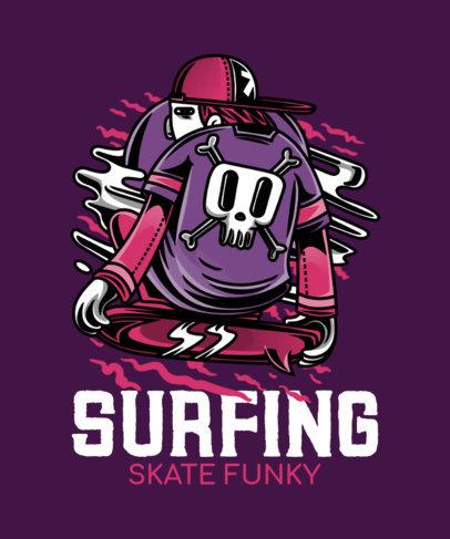 Street Art-Style T-Shirt Design Maker Featuring a Goth Surfer 21j-el