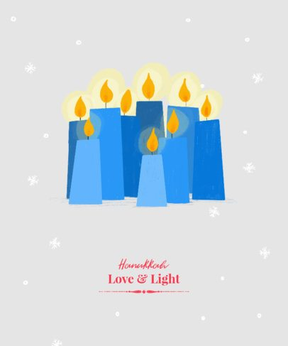 Hanukkah T-Shirt Design Template Featuring Blue Candles 837h 2056