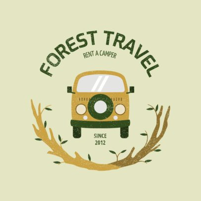 Car Rental Company Logo Template Featuring a Camper Graphic 2773g