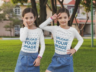 Long Sleeve Mockup Featuring Twin Girls Doing Funny Poses 30702