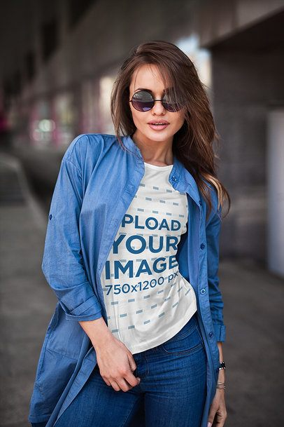 Mockup of a Woman with a Crewneck T-Shirt and Sunglasses Posing on the Street 1196-el1