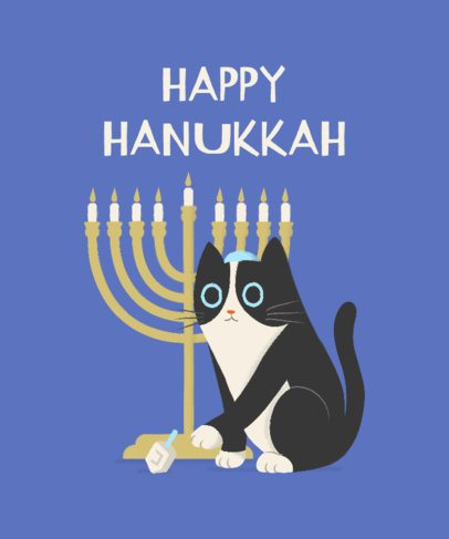 T-Shirt Design Creator of a Cat Celebrating Hanukkah and Playing with a Dreidel 1879i-2055