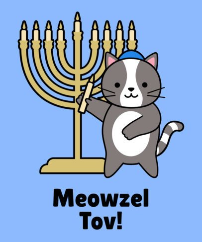 Hanukkah T-Shirt Design Maker with a Cat Wearing a Kippah Illustration 24g-2055