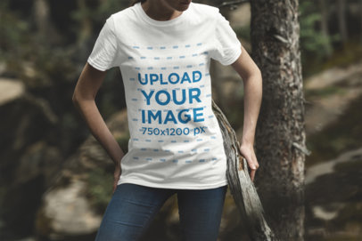 Mockup of a Woman Wearing a Crew Neck T-Shirt in the Forest 1840-el