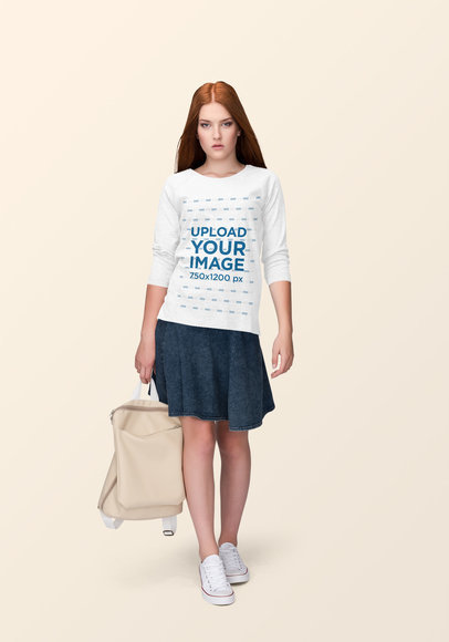 Crewneck Sweatshirt Mockup Featuring a Red-Haired Woman at a Studio 1886-el