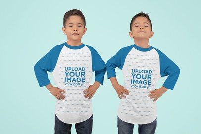 Mockup of Twin Boys Wearing Raglan T-Shirts at a Studio 30991