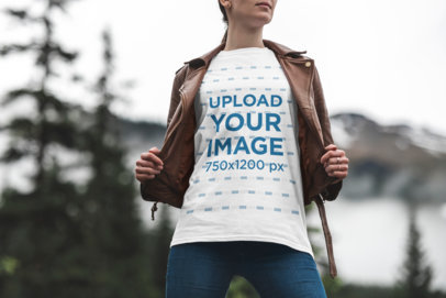 Mockup of a Stylish Woman Wearing a T-Shirt in Nature 1845-el