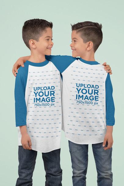 Three Quarter Sleeve Raglan T-Shirt Mockup Featuring Two Twin Brothers at a Studio