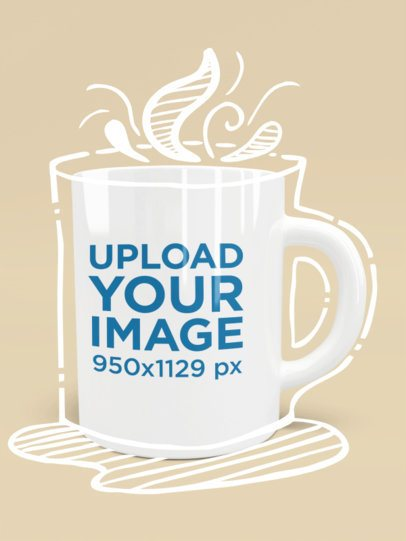 Mockup of an 11 oz Coffee Mug in a Customizable Scenario 1518-el