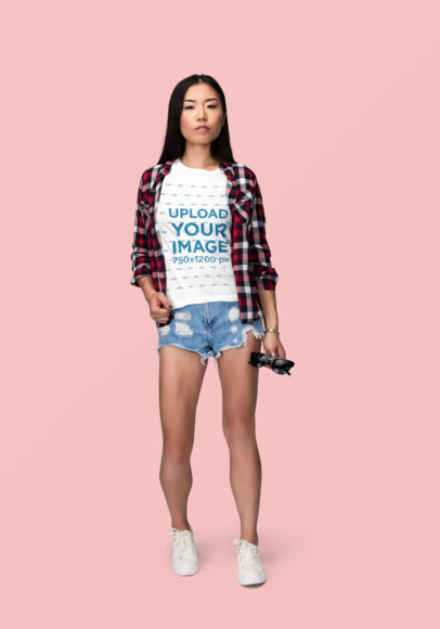 T-Shirt Mockup of a Woman Wearing Daisy Dukes and a Flannel Shirt 1864-el