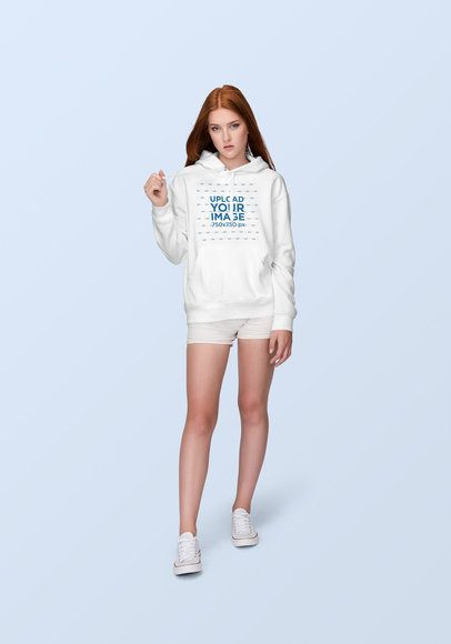 Hoodie Mockup of a Fabulous Young Woman with Red Hair 1884-el1