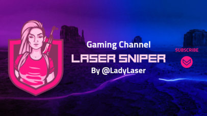 YouTube Banner Maker with a Neon Pink PUBG-Inspired Character 1735n-2066