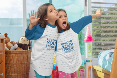 Raglan Tee Mockup of Twin Girls Making Funny Faces