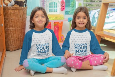 Raglan T-Shirt Mockup of Twin Girls Sitting in Their Room 31013