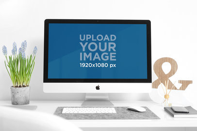 Mockup of an iMac on a Modern Desk 2138-el