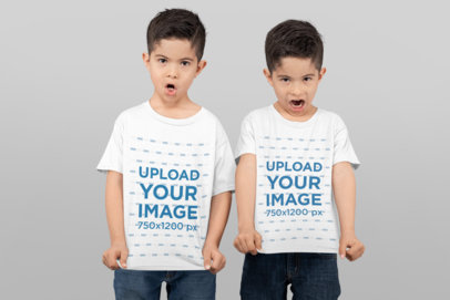 T-Shirt Mockup of Twin Boys Making Funny Faces 31004