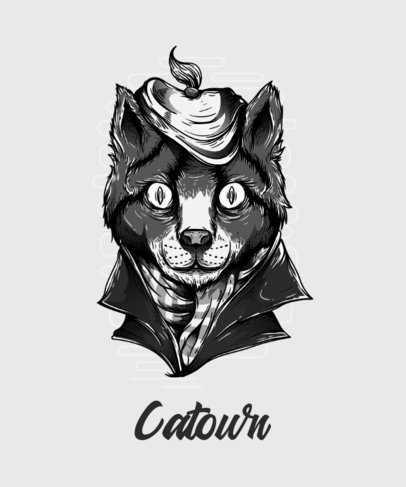 T-Shirt Design Generator Featuring a Trippy Cat Illustration