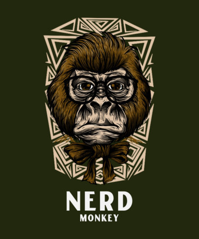 T-Shirt Design Maker with a Nerdy Monkey Face Illustration 44d-el