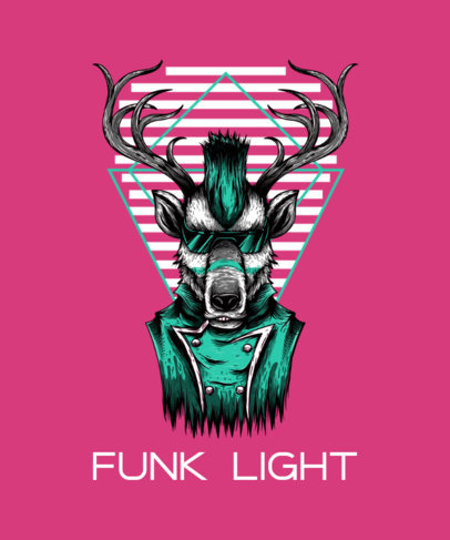 Funky T-Shirt Design Template Featuring a Deer with a Mohawk