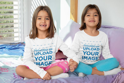 Mockup of Two Twin Girls Wearing Long-Sleeve T-Shirts 31010