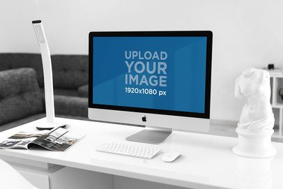 Mockup of an iMac Placed on a Minimalist Desk 2141-el