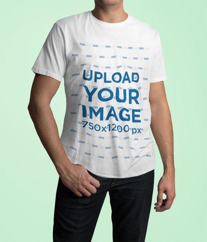T-Shirt Mockup Featuring a Man Posing in a Studio 1978-el1