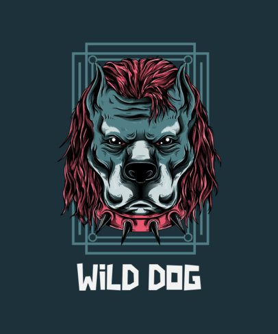 T-Shirt Design Template Featuring an Aggressive Dog with a Street-Art Style 44i-el