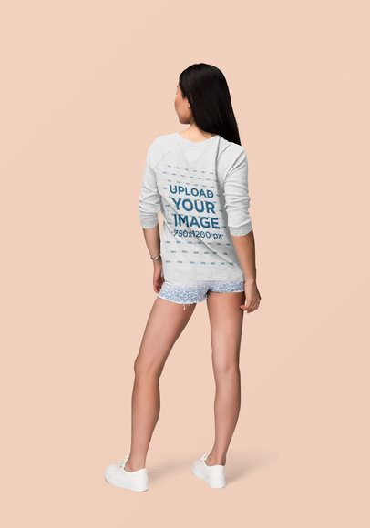 Back View Mockup of a Woman Wearing a Customizable Sweatshirt at a Studio 1870-el1