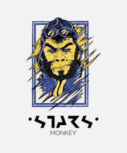 Street-Art T-Shirt Design Maker Featuring a Monkey Character with an Aviator Hat 44j-el