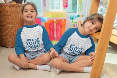 Mockup of Twin Girls Wearing Raglan Tees in Their Bedroom 31014