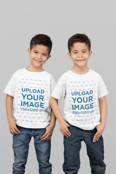 T-Shirt Mockup of Identical Twin Boys Smiling at a Studio 31003