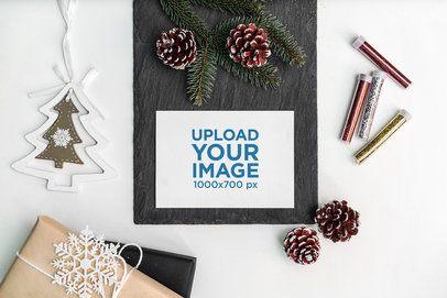 Postcard Mockup Featuring a Christmas Scenario 2082-el