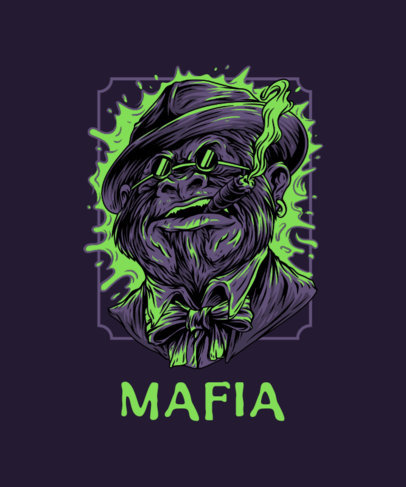 Street-Art T-Shirt Design Template Featuring an Ape Character with Mafia Style 44k-el