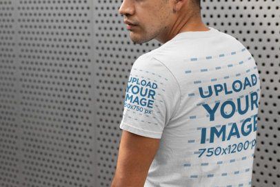 Cropped Face T-Shirt Sleeve Mockup Featuring a Man 30877