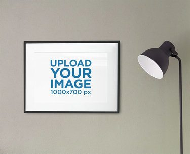 Poster Frame Mockup Featuring a Modern Floor Lamp 2022-el1